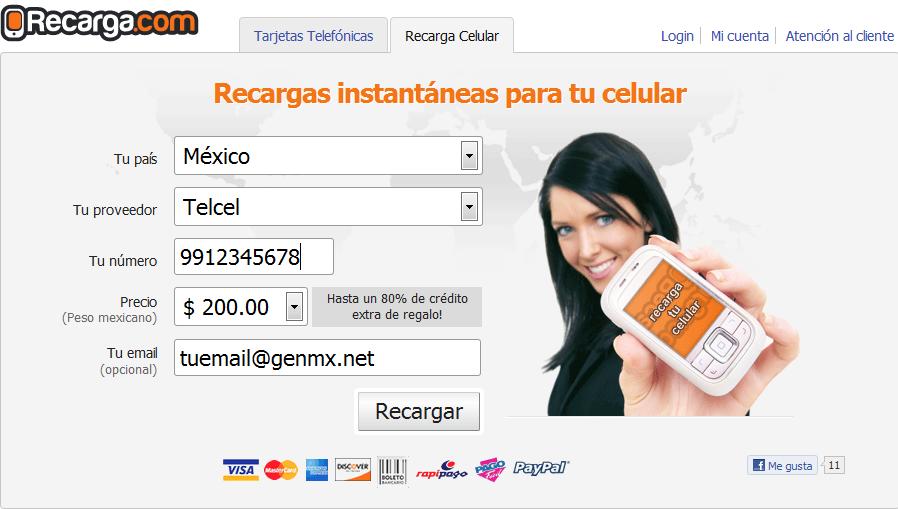 Recarga.com, recargar saldo en linea