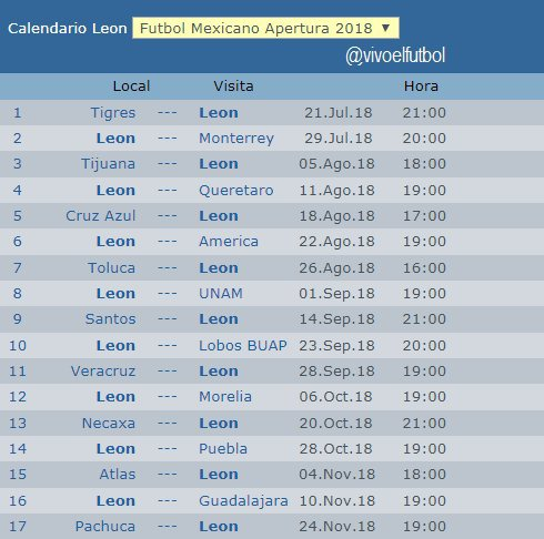 Futbol Calendario.Calendario Del Leon Torneo Apertura 2018 Del Futbol Mexicano